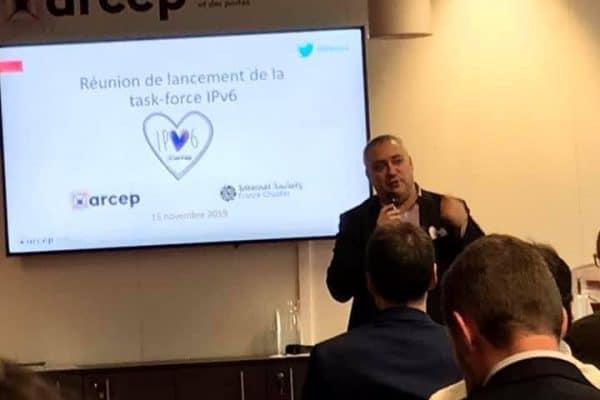 Nicolas Chagny ouvre la Task Force IPv6 - le directeur général de WebForce3 aux côtés du président de l'Arcep